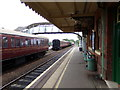 TL8928 : Chappel & Wakes Colne Railway Station Platform by Adrian Cable