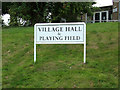 TM4198 : Village Hall & Playing Field sign by Adrian Cable