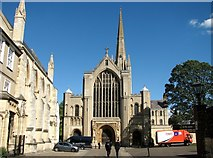 TG2308 : The west end of Norwich Cathedral by Evelyn Simak