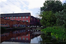 SK5702 : Factory buildings by St Mary's Mill Lock, Leicester by Roger  Kidd