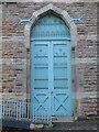 SJ1258 : Door to Ruthin market hall by John S Turner