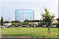 TQ3166 : Green and Gasometer, Euston Road by Des Blenkinsopp