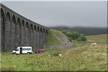 SD7579 : View of the Ribblehead Viaduct and a cloud covered Whernside from the Whernside Trek by Robert Lamb