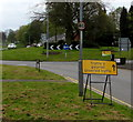 ST2994 : Yellow temporary traffic sign, St David's Road, Cwmbran by Jaggery