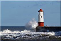 NU0152 : A rough sea at Berwick Pier by Walter Baxter