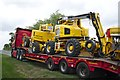 SK9824 : Yellow machines, Red Lorry by Bob Harvey