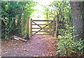 SU7939 : Gate on the path, Alice Holt Forest by John P Reeves