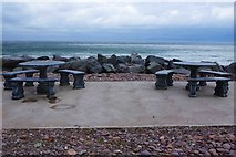 V6490 : Picnic tables by the sea, Rossbeigh Beach, Glenbeigh, Co Kerry by P L Chadwick