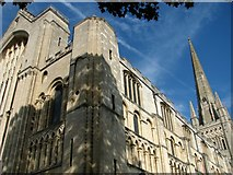 TG2308 : A skewed view of Norwich Cathedral by Evelyn Simak
