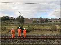 NT9953 : Track Workers, Berwick by David Robinson