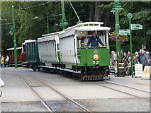 SC4384 : Laxey: Car No 32 with trailer and a van by Dr Neil Clifton