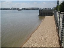 TQ4179 : Silvertown: Thames Barrier Park: The Thames foreshore by Nigel Cox