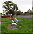 SS9083 : Two roadside metal benches in Sarn by Jaggery