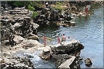 SE0063 : Bathers in the River Wharfe at Linton by Dr Neil Clifton