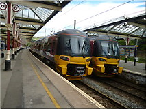 SD9851 : Two Class 333s at Skipton station by Dr Neil Clifton