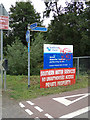 TR0143 : Ashford Wastewater Treatment & Recycling Centre sign & Cycle Path Signpost by Adrian Cable