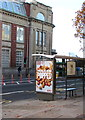 ST3188 : KFC advert on a Clarence Place bus shelter, Newport by Jaggery