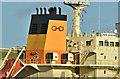 """J3576 : The """"Union Groove"""" (funnel), Belfast harbour (October 2018) by Albert Bridge"""