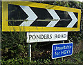 TL9227 : Ponders Road sign by Adrian Cable