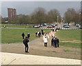 TQ3470 : Lining up for wedding photos, Crystal Palace Park, south London by Robin Stott