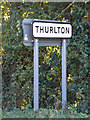 TM4198 : Thurlton Village Name sign on The Street by Adrian Cable