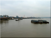 TQ3980 : View downriver from East India Dock entrance by Robin Webster