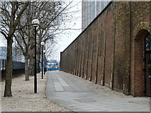 TQ3880 : East India Dock boundary wall by Robin Webster