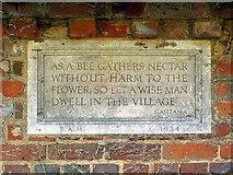 TQ0487 : Plaque in shelter, Village Green, Denham by Andrew Curtis