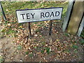 TL9125 : Tey Road sign by Geographer