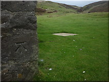SE0270 : Bench mark on the shooting hut at Mossdale by Karl and Ali