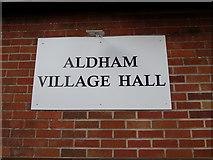 TL9125 : Aldham Village Hall sign by Geographer