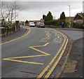 SO0429 : Zigzag yellow markings on Pendre Close, Brecon by Jaggery