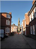 SK5804 : Glimpsing the spire of Leicester Catheal in New Street by Basher Eyre