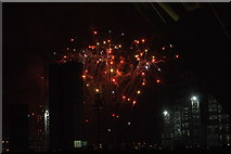 TQ1985 : View of fireworks in the Light Up the Night event from the Wembley Stadium walkway #4 by Robert Lamb