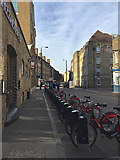 TQ3480 : Transport for London/Santander bikes for hire, Wapping Lane, Wapping by Robin Stott