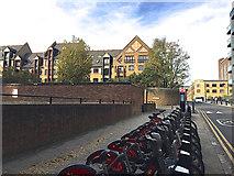 TQ3480 : TfL/Santander bikes near the junction of Reardon Street and Wapping Lane, Wapping by Robin Stott