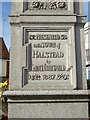 TL8130 : Plaque on the Monument on the A131 High Street by Adrian Cable