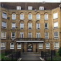 TQ3480 : Jackman House entrance from Green Bank, Wapping Estate by Robin Stott
