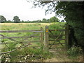 SE7533 : Footpath  gate  into  fields  from  lane by Martin Dawes