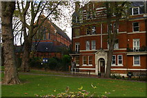 TQ2585 : Emmanuel Church, West Hampstead, and adjacent Alexandra Mansions by Christopher Hilton
