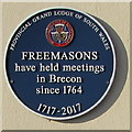 SO0428 : Freemasons Blue Plaque, Brecon by Jaggery