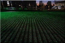 TQ3783 : View of Shrouds of the Somme figures illuminated by green lights from the perimeter path around the South Lawn #2 by Robert Lamb