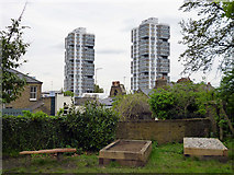 TQ2976 : Amesbury Tower and Durrington Tower, SW8 by Robin Webster