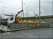 TQ2387 : Changing the street lighting by Brent Cross shopping centre by Robin Webster