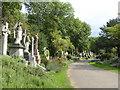 TQ2886 : Main path in Highgate East Cemetery by Marathon