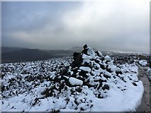 SK2781 : Snow-covered cairn on Burbage Edge by Graham Hogg