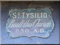 SH5571 : A plaque above the door of St Tysilio's Church, Menai Bridge, Anglesey by Robin Drayton