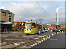 SD8913 : Tram on Drake Street, Rochdale  by Stephen Craven