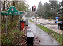 ST1494 : Ystrad Mynach boundary sign by Jaggery