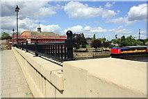 TL1998 : East parapet of London Road bridge over the River Nene by Roger Templeman